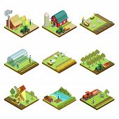 Natural Farming Isometric 3d Elements. Agricultural Machinery Work In Field, Crop Harvesting, Vegeta poster