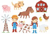 Illustration Of Various Domestic Animals Livestock, Birds, Kids In Blue Working Overalls, Wind Pump, poster