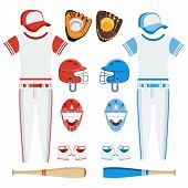 Baseball Equipment Set. Bat, Ball, Softball Gloves, Batting Helmets, Catcher Gear And Leg Guards. Fl poster