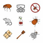 Pest Control Color Icons Set. Flea, Respirator, Cockroaches Repellent, Mouse Trap, Rodent, Colorado  poster
