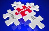 LLC LLP S C Corp Incorporation Puzzle Pieces 3d Illustration poster