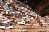 Pre Inca Traditional Salt Extraction Pans (salinas) In Sacred Valley Of Incas, Peru poster