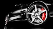 Black Luxury Car In Studio Lighting. Closeup Wheel Shot. 3d Render poster