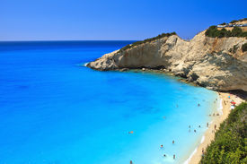 picture of greek-island  - The blue waters in Porto Katsiki beach in Lefkada - JPG