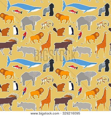 poster of Animal Seamless Pattern Of Diverse Wild Animals Cartoon Icons For Educational Wildlife Children Desi