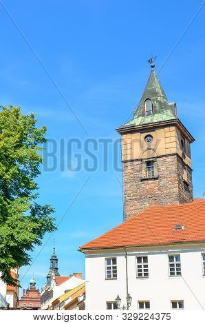 poster of Historic Water Tower, Vodarenska Vez, In Plzen, Czech Republic On A Sunny Day. Pilsen City, Western
