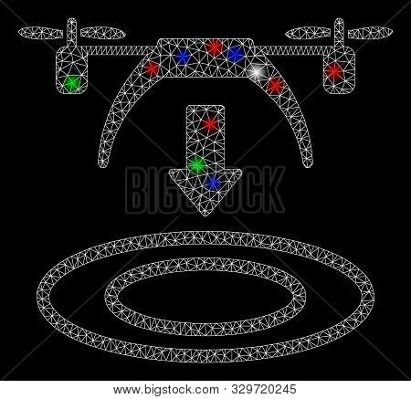 poster of Bright Mesh Copter Arrival With Glare Effect. White Wire Frame Polygonal Mesh In Vector Format On A