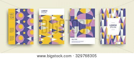 poster of Modern Abstract Geometric Covers Templates Set. Retro Minimal Colorful Brochure, Flyer, Poster Backg
