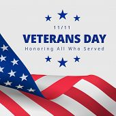 Happy And Free Veterans Day November 11th. Honoring All Who Served Greeting Card. Creative 3d Style  poster