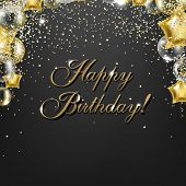 Congratulations Birthday Card With Golden Balloons poster