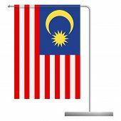 Malaysia Table Flag. Metal Flagpole. National Flag Of Malaysia Illustration poster