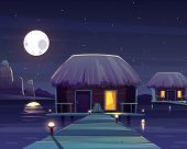 Cartoon Background With Rich Hotel On Piles At Night. Living Apartment On Pillars, Tropical Resort O poster