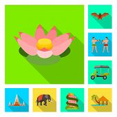 Vector Illustration Of Journey And Exotic Sign. Set Of Journey And National Stock Symbol For Web. poster