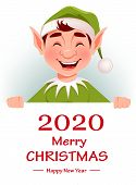 Merry Christmas Greeting Card With Funny Elf. Santa Claus Helper Elf Standing Behind White Placard W poster