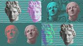 Contemporary Art Concept Collage With Antique Statue Head In A Surreal Style. Modern Unusual Art. poster