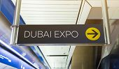 Dubai Expo 2020. Pointer At The Metro Station. Station Name And Exit Direction poster