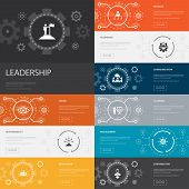 Leadership Infographic 10 Line Icons Banners.responsibility, Motivation, Communication, Teamwork Sim poster