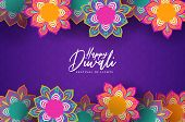 Happy Diwali Greeting Card Illustration Of Beautiful Traditional Indian Flowers In Papercut Style. H poster