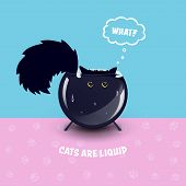 Black Cat With Golden-yellow Eyes And A Fluffy Tail On The Pink And Blue Pattern With Cat Paws Print poster