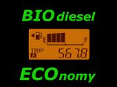 Fuel Economy: Fuel Gauge And Odometer Showing A Minimal Fuel Consumption. Biodiesel Ecology And Econ poster
