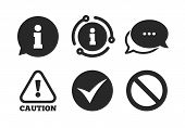 Stop Prohibition And Attention Caution Signs. Chat, Info Sign. Information Icons. Approved Check Mar poster