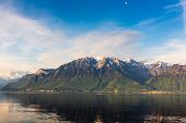 Natural Landscape Scenery View Of Lake Geneva And Swiss Alps At Switzerland, Nature Scenic Horizonta poster