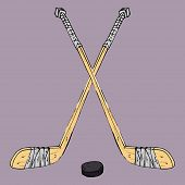 Hockey Stick With Puck. Vector Illustration Of A Hockey Stick. Hand Drawn Sports Equipment Hockey St poster