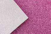 Multicolor Paper Diagonal Background Pink, White Colors. Top View, Copy Space. Shiny Multicolored Fe poster