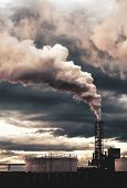 smoke coming out of factory chimney  pollution  climate change, global warming poster