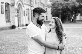 Couple In Love Walking Having Fun. Couple Relaxing Enjoying Each Other. Man Bearded Hipster And Pret poster