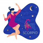 Scorpio Woman Zodiac And Horoscope Concept. Modern Vector Art With Woman Profile. Illustration For H poster