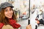 Woman With Umbrella In City Street. Woman City Life Lifestyle. City People. Busy People. Woman Walki poster