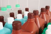 Bottles With Cleaning And Disinfection Solution Or Sanitizer Or Disinfectant poster
