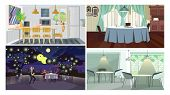 Dinner Interiors Vector Illustration Set. Studio With Kitchen And Dining Table, Traditional Dining R poster