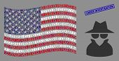 Spy Icons Are Combined Into American Flag Mosaic With Blue Rectangle Rubber Stamp Watermark Of Under poster