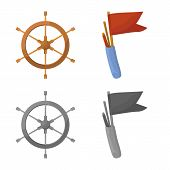 Vector Illustration Of Journey And Seafaring Logo. Set Of Journey And Vintage Vector Icon For Stock. poster