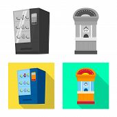 Vector Illustration Of Amusement And Store Icon. Collection Of Amusement And Urban Vector Icon For S poster