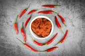 Curry Paste And Red Chilli Peppers Background Top View / Ingredients Table Asian Food Spicy In Thail poster