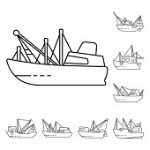 Isolated Object Of Commercial And Vessel Logo. Set Of Commercial And Speedboat Vector Icon For Stock poster