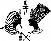 stock photo of king cobra  - ancient egypt king and queen - JPG