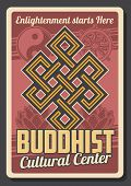 Vector Buddhism Religion Symbols Of Dharma Wheel, Endless Knot, Lotus And Yin Yang Sign. Buddhism Re poster