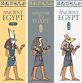 Set Of Vector Banners With Egyptian Gods And Deities - Horus, Thoth, Anubis, . Advertising Posters O poster
