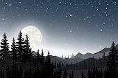 Panorama Landscape Of Starry Night With Full Behind Mountain And Pine Tree, Panoramic The Full Moon  poster