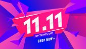 11.11 Special Offer Sale Banner With Triangular Polygonal Shapes On A Gradient Background For Specia poster