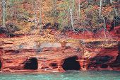Apostle Islands Mainland Sea Caves Along The Bayfield Peninsula Along Lake Superior In Wisconsin poster