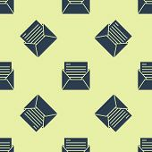 Blue Mail And E-mail Icon Isolated Seamless Pattern On Yellow Background. Envelope Symbol E-mail. Em poster