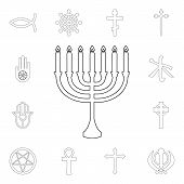 Religion Symbol, Judaism Outline Icon. Element Of Religion Symbol Illustration. Signs And Symbols Ic poster