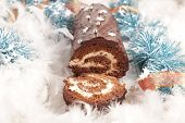 christmas yule log and decoration poster