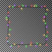 Christmas Lights Square Vector, Light Frame Isolated. Xmas Light Border Effect. Vector Illustration poster