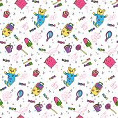 Seamless Pattern Of Objects For Pajama, Sleepover Or Slumber Party In Doodle Style. Hand Drawn Paint poster